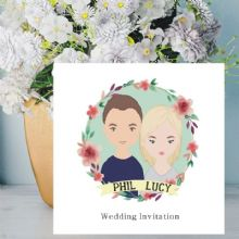 Cartoon Couple Illustration Wedding Invitations - Personalised with Names - FREE Framed Keepsake Print With Every Order